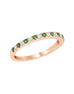 Stackable 14K White Gold and Diamond with Tsavorite Garnet 4-Prong Wedding Band