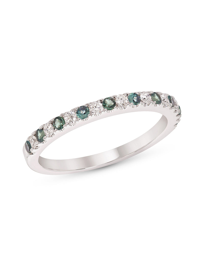 Stackable 14K White Gold and Diamond with Alexandrite 4-Prong Wedding Band