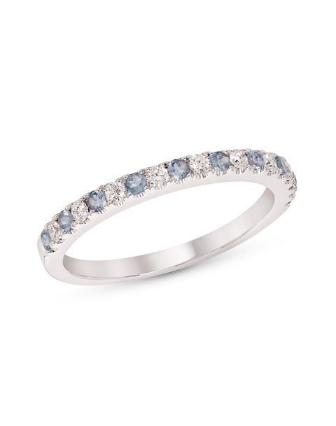 Stackable 14K White Gold and Diamond with Aquamarine 4-Prong Wedding Band
