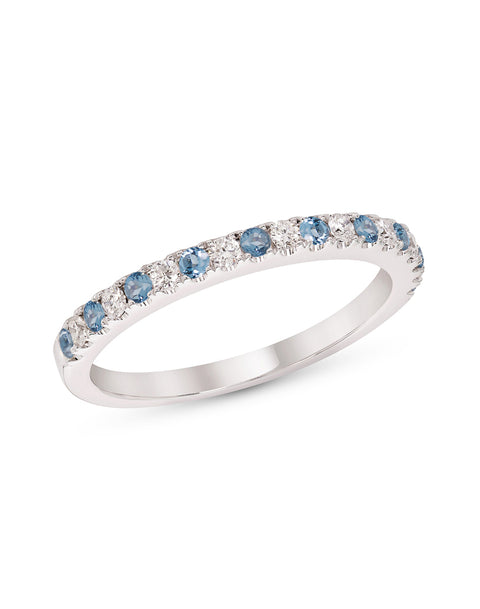 Stackable 14K White Gold and Diamond with Blue Topaz 4-Prong Wedding Band