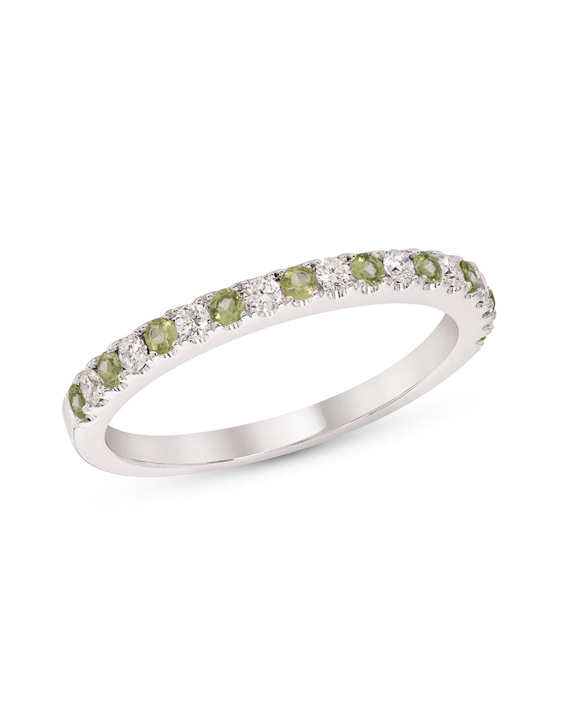Stackable 14K White Gold and Diamond with Peridot 4-Prong Wedding Band