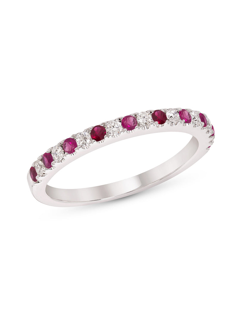 Stackable 14K White Gold and Diamond with Ruby 4-Prong Wedding Band