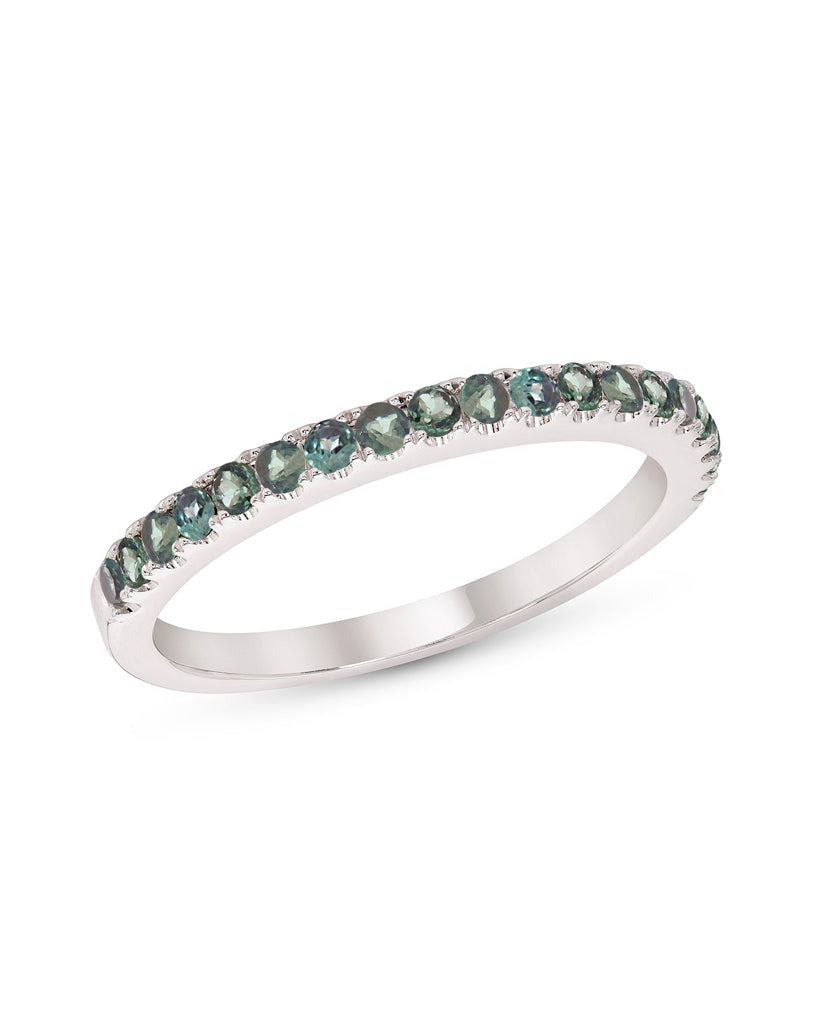 Stackable 14K White Gold and Alexandrite 4-Prong Wedding Band