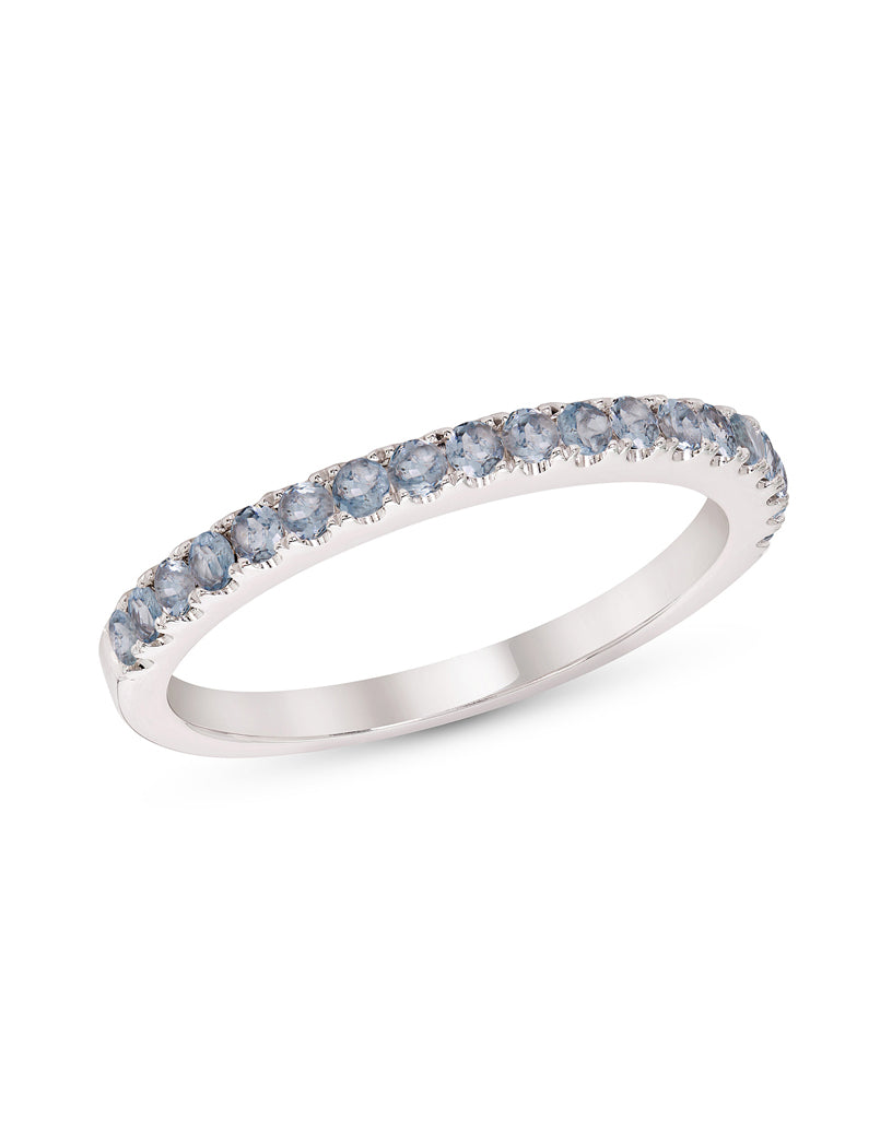 Stackable 14K White Gold and Aquamarine 4-Prong Wedding Band