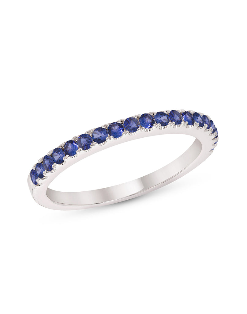 Stackable 14K White Gold and Blue Sapphire 4-Prong Wedding Band