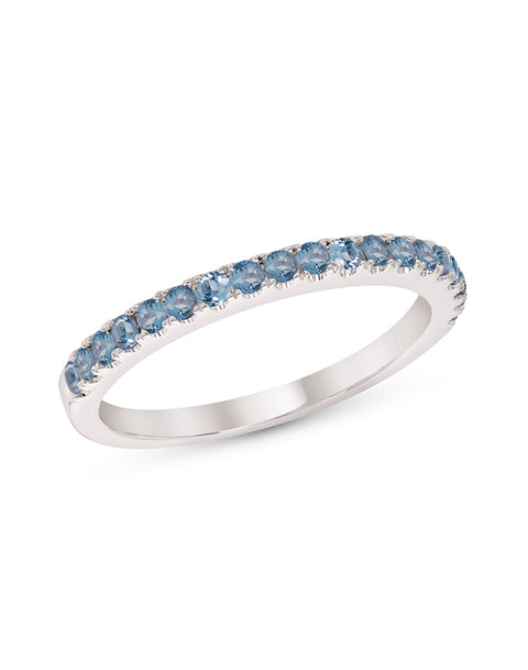 Stackable 14K White Gold and Blue Topaz 4-Prong Wedding Band