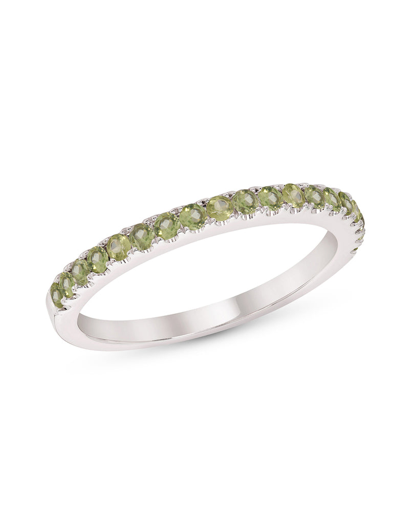 Stackable 14K White Gold and Peridot 4-Prong Wedding Band