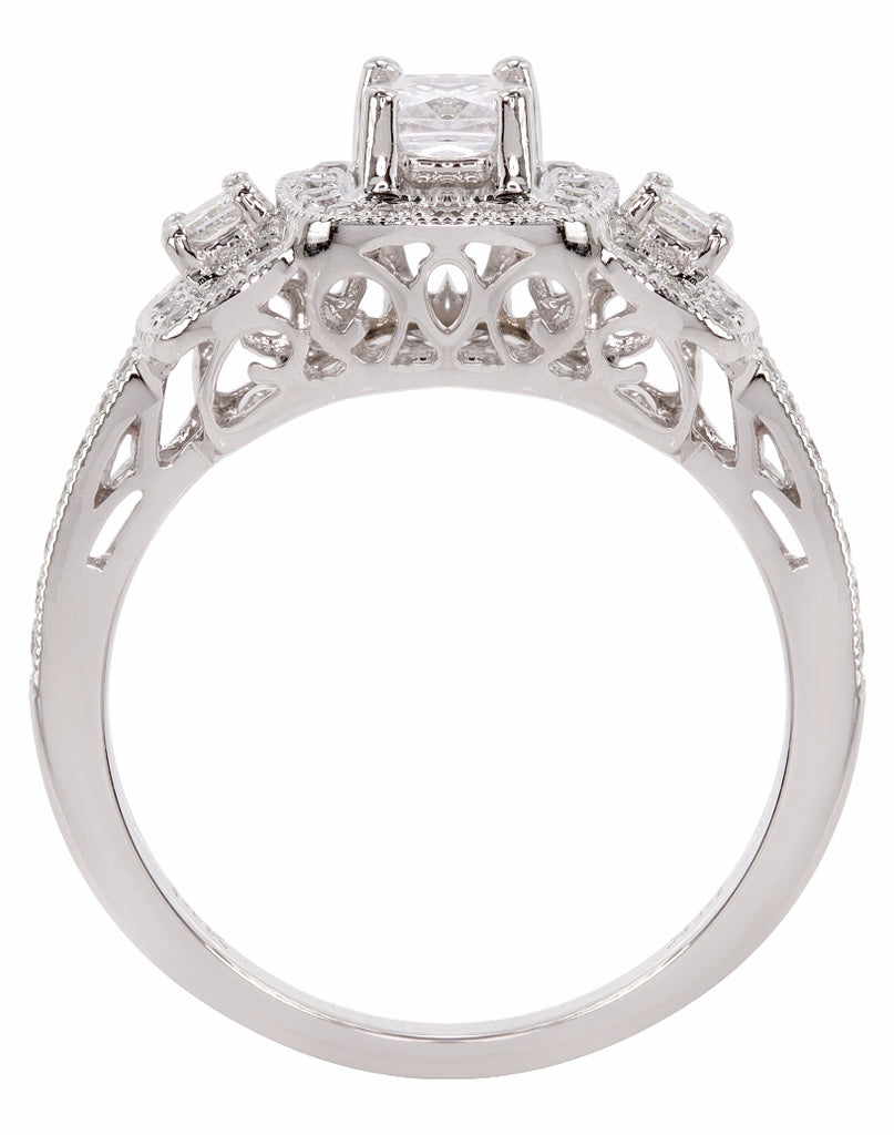 3 Stone 14K White Gold and Halo Diamond Tesori Engagement Ring