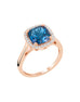 14K Rose Gold with London Blue Topaz and Diamond Ring