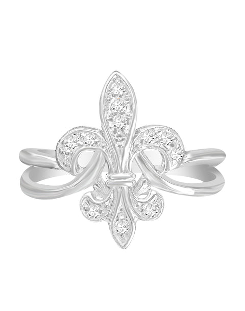 14K White Gold Fleur De Lis Diamond Engagement Ring