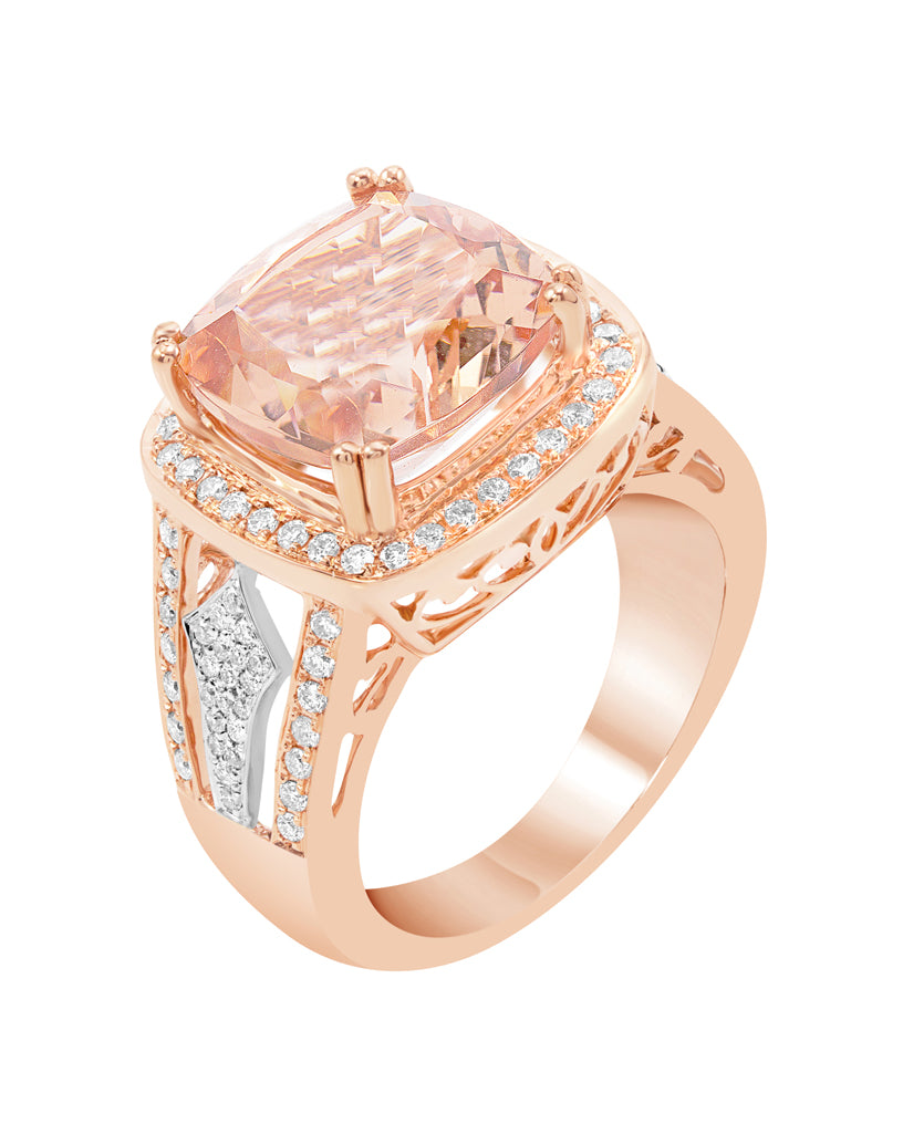 14K Rose with White Gold with Morganite and Diamond Ring