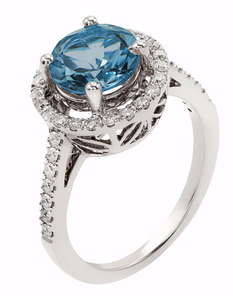 14K White Gold with London Blue Topaz and Diamond Ring