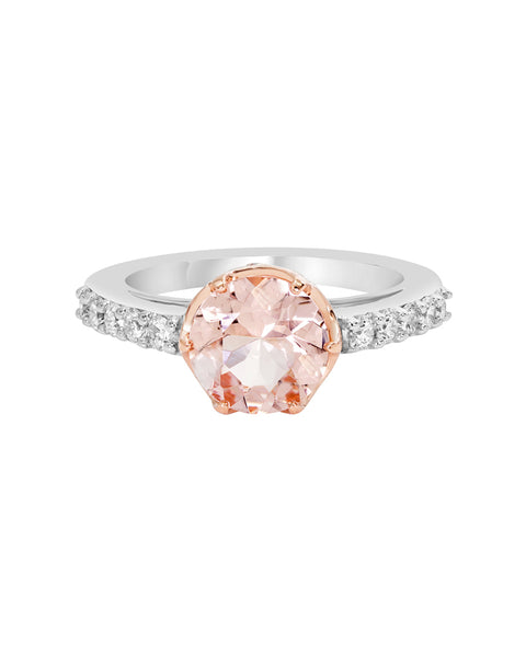 14K White Gold with Morganite and Diamond Engagement Ring