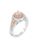 14K White with Rose Gold and Double Halo Tesori Diamond Engagement Ring