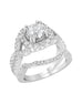 14K White Gold and Cushion Halo Diamond Infinity Engagement Ring