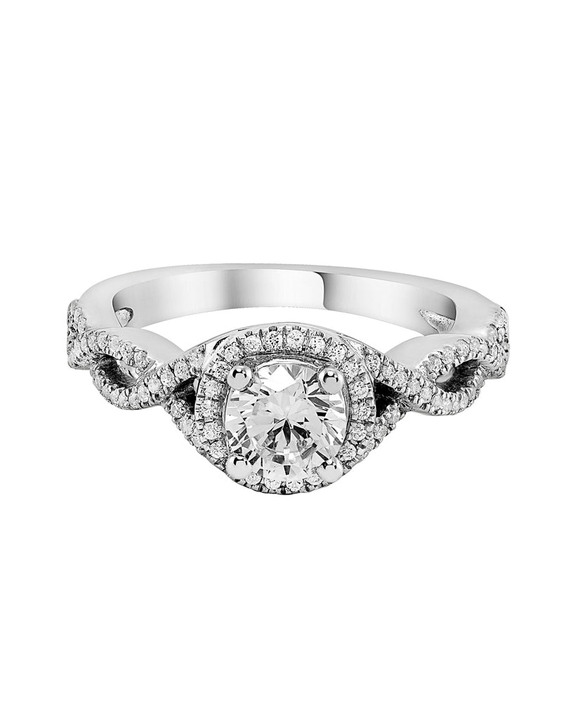 14K White Gold and Round Halo Diamond Infinity Engagement Ring