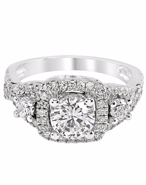 3 Stone 14K White Gold and Cushion Halo Diamond Infinity Engagement Ring