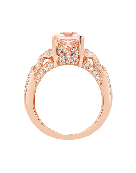 14K White Gold with Morganite and Diamond Ring