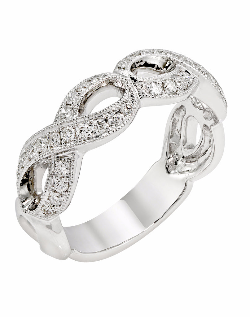 14K White Gold and Diamond Infinity Fashion Band