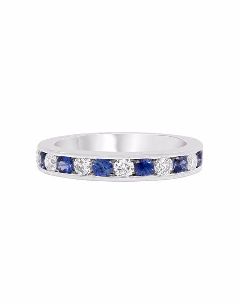 14K White Gold and Diamond with Blue Sapphire Channel Wedding Band