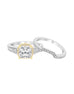 Vintage 14K White with Yellow Gold and Cushion Halo Diamond Engagement Ring