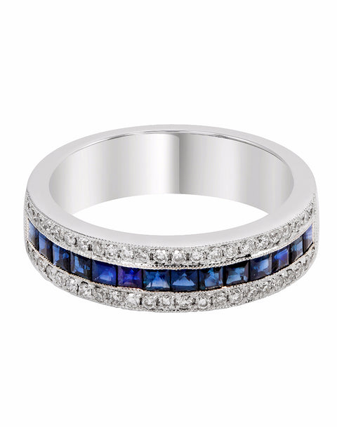 14K White Gold and Diamond with Blue Sapphire Fashion Band