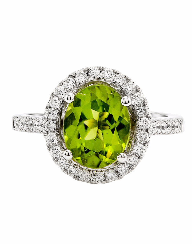 14K White Gold and Peridot with Diamond Ring