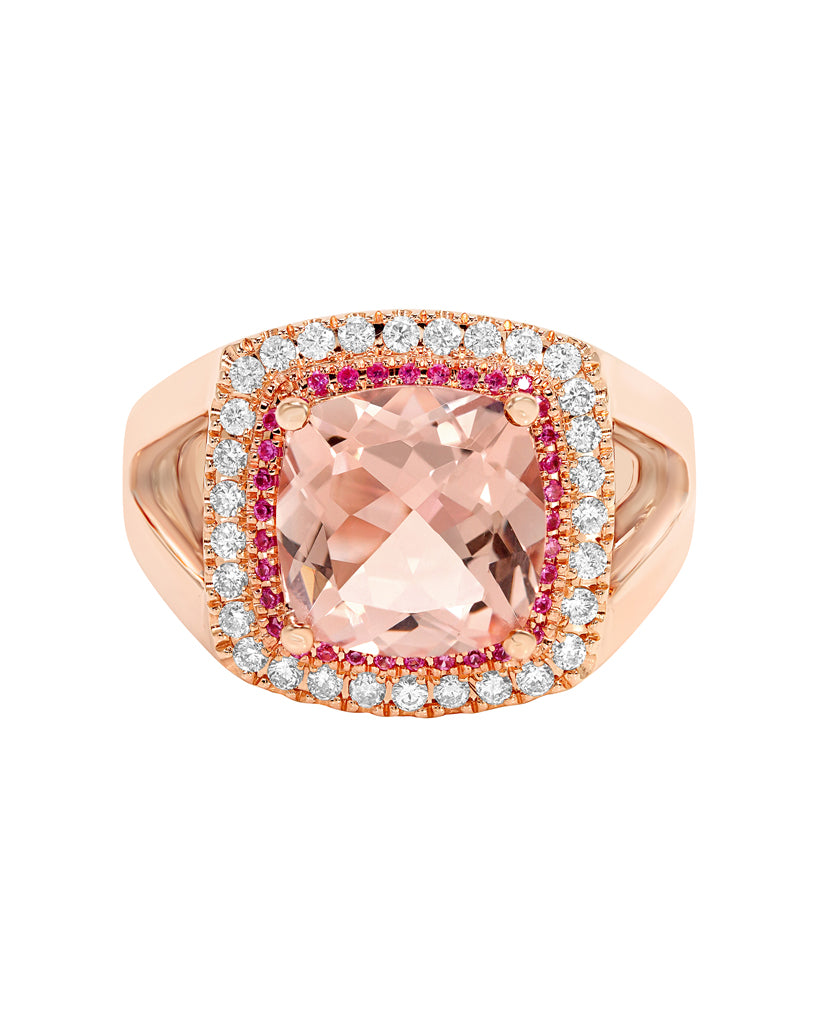 14K Rose Gold and Morganite with Pink Tourmaline and Diamond Ring