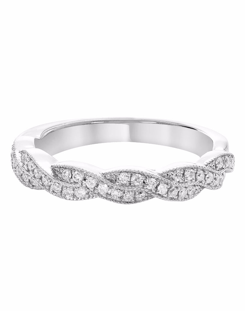 Stackable 14K White Gold and Diamond Infinity Wedding Band