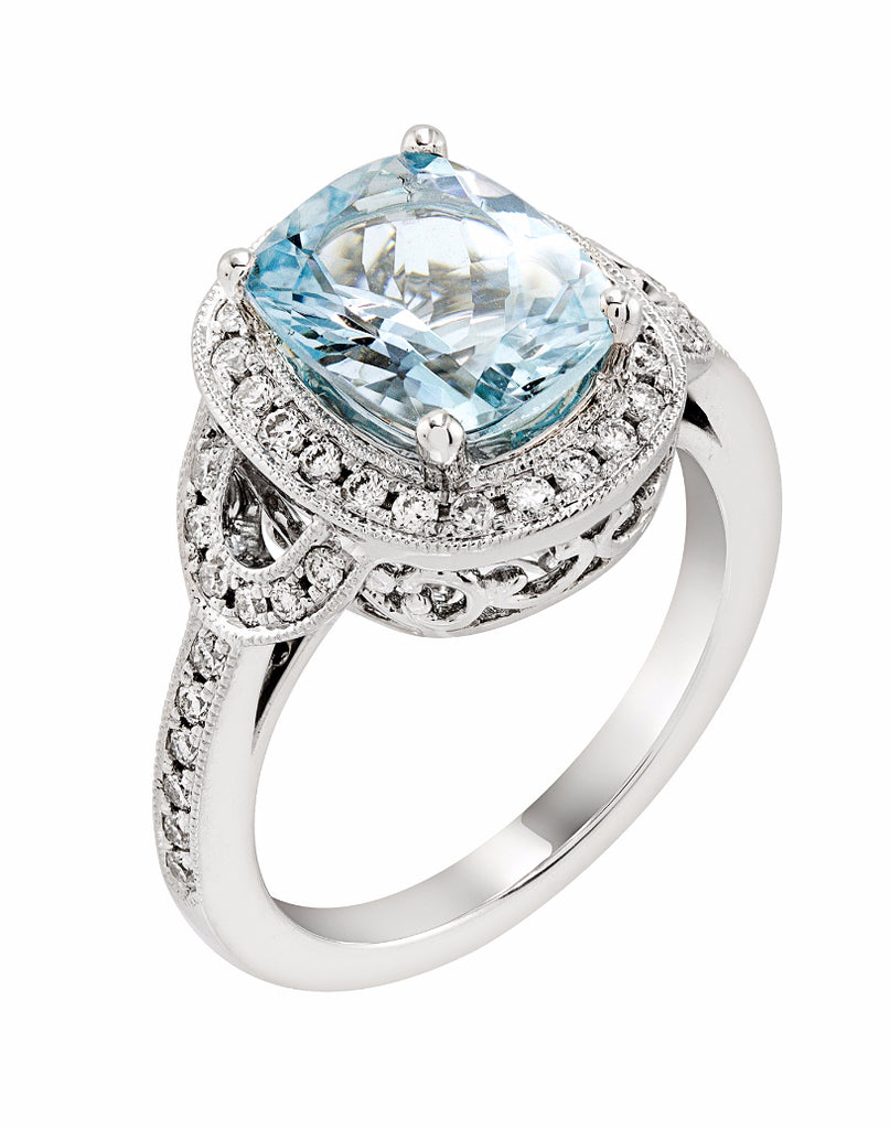 14K White Gold and Aquamarine with Diamond Ring