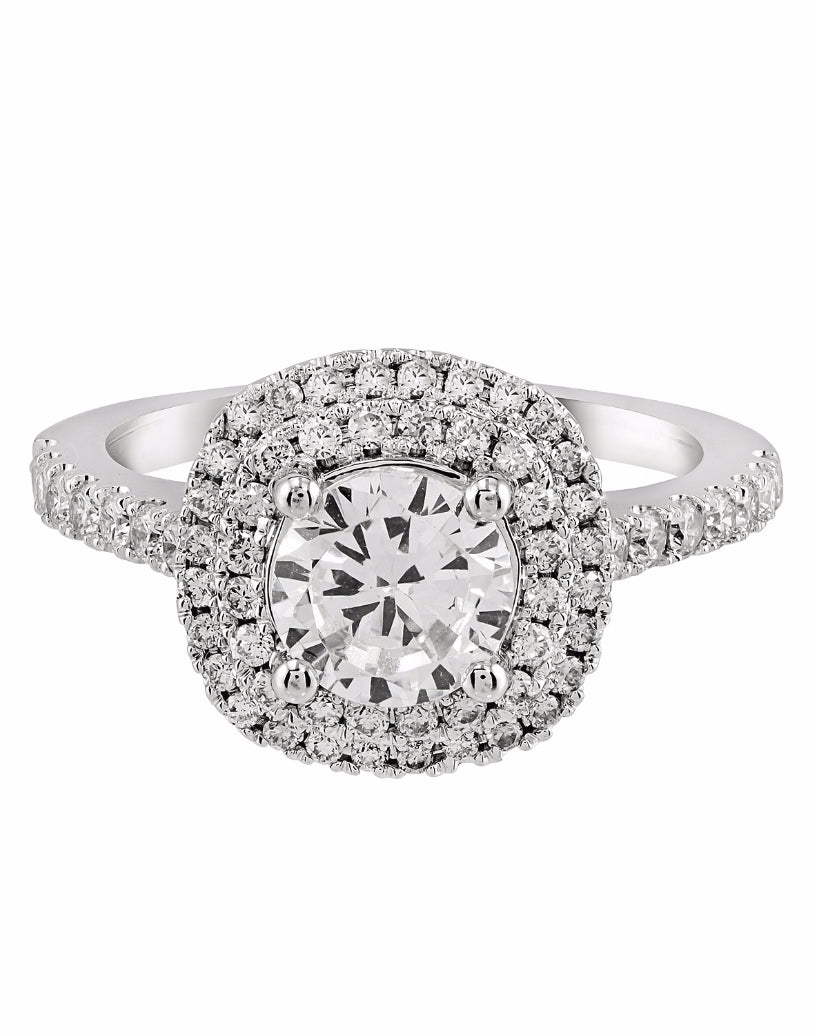 14K White Gold and Double Halo Diamond Engagement Ring