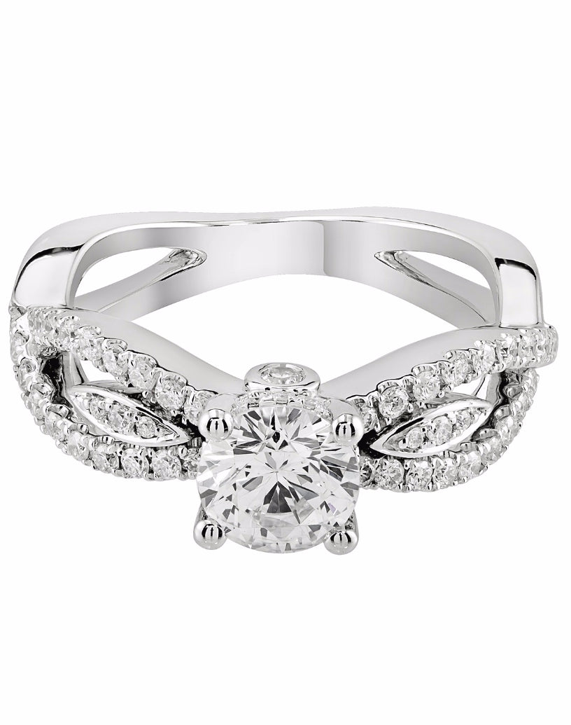 14K White Gold and Diamond Infinity Engagement Ring