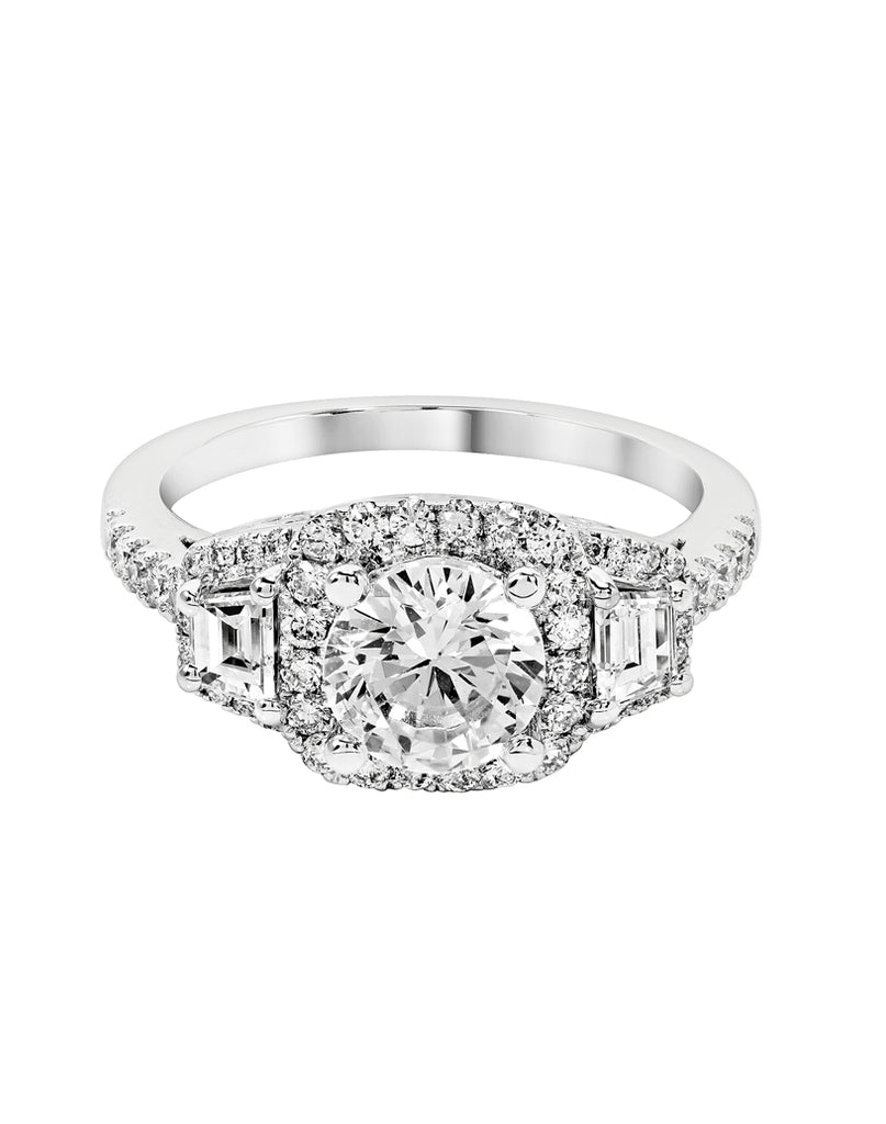 3 Stone 14K White Gold and Cushion Halo Diamond Engagement Ring