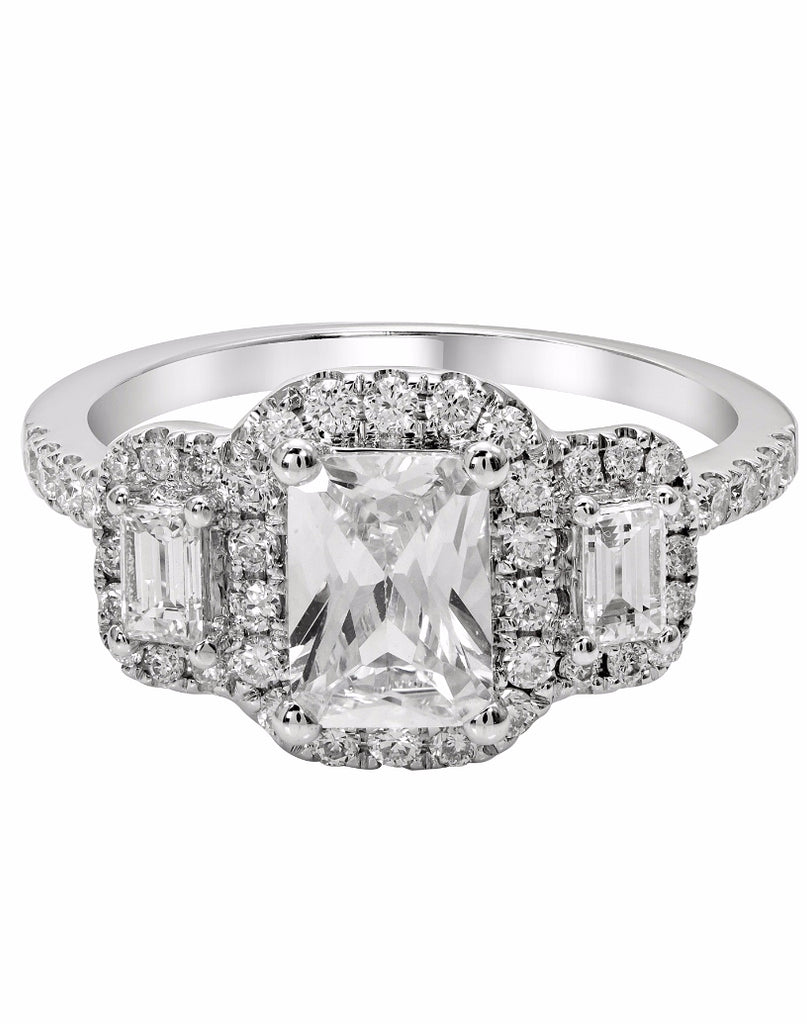 3 Stone 14K White Gold and Halo Diamond Engagement Ring