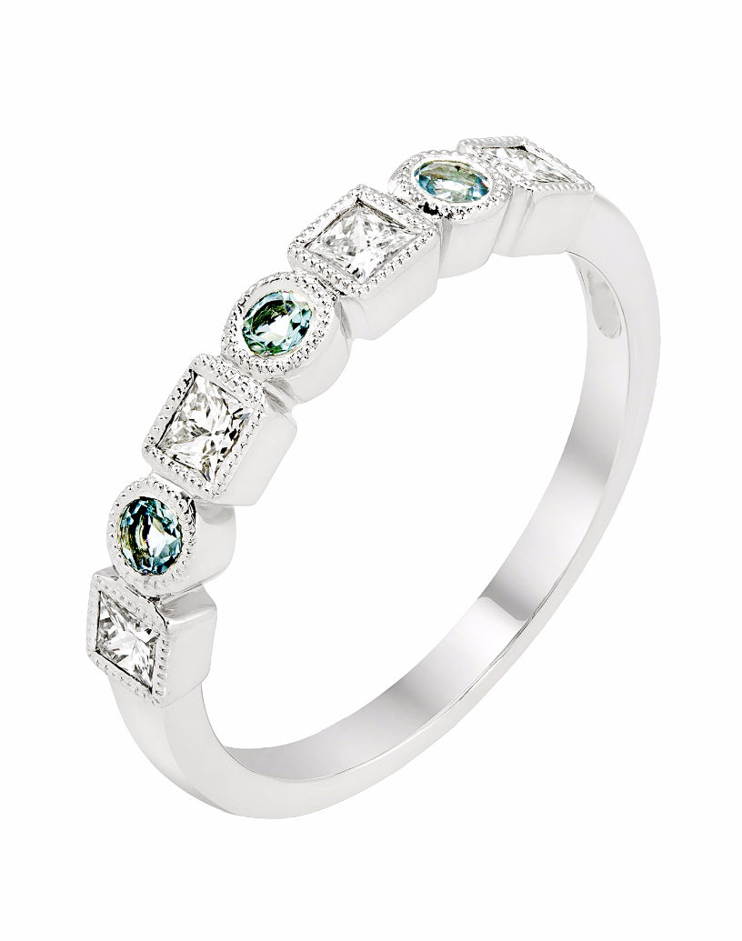 Stackable 14K White Gold and Diamond with Aquamarine Wedding Band