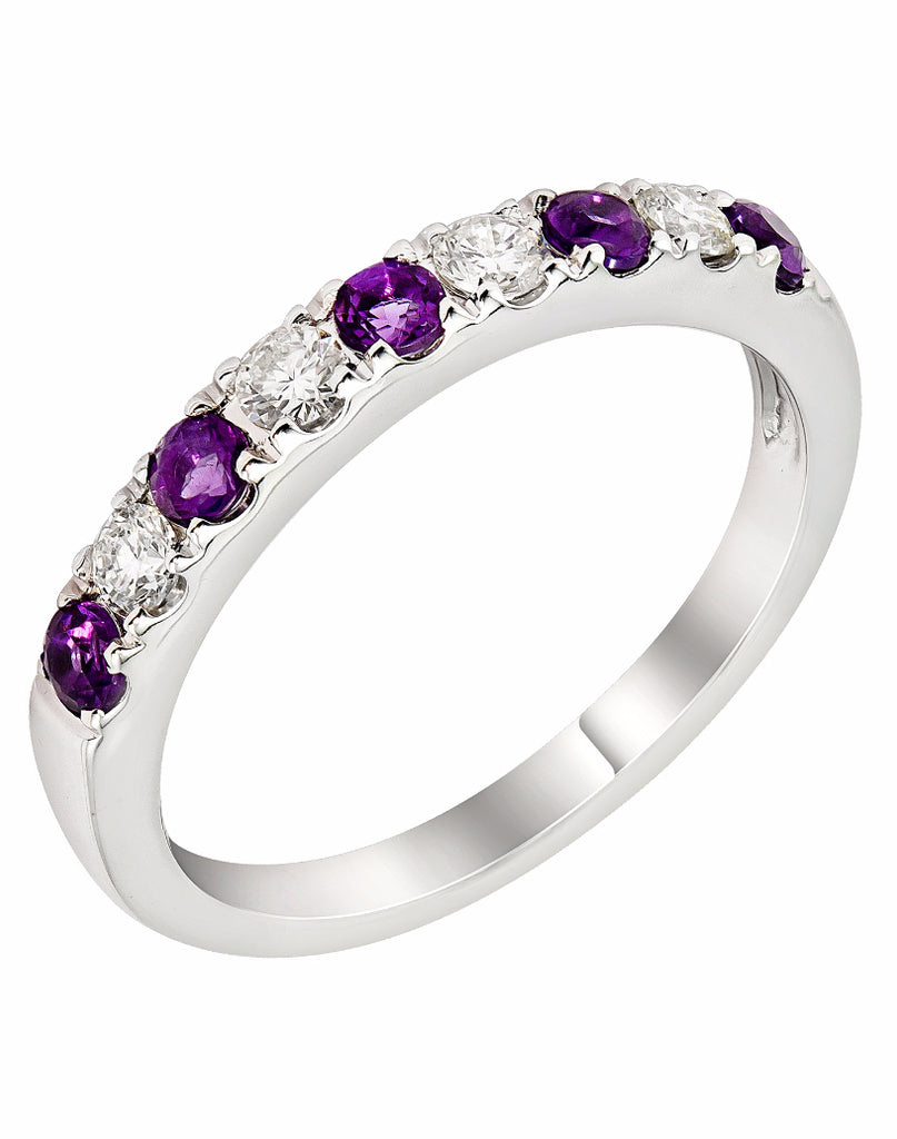 Stackable 14K White Gold and Diamond with Amethyst Wedding Band