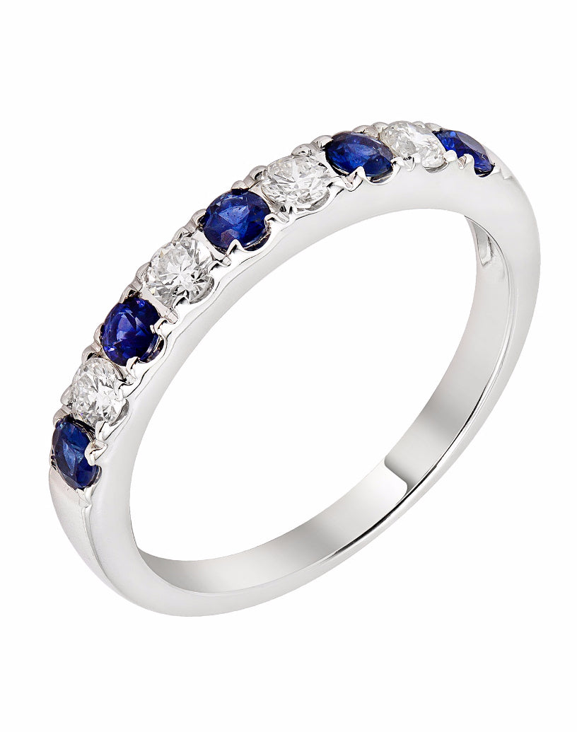 Stackable 14K White Gold and Diamond with Blue Sapphire Wedding Band
