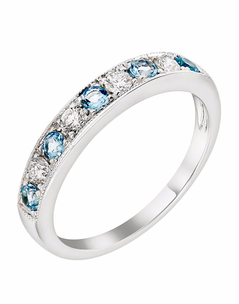 Stackable 14K White Gold and Diamond with Blue Topaz Wedding Band