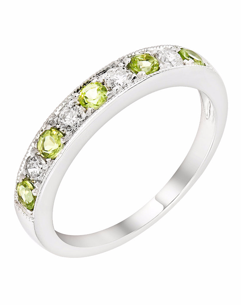 Stackable 14K White Gold and Diamond with Peridot Wedding Band