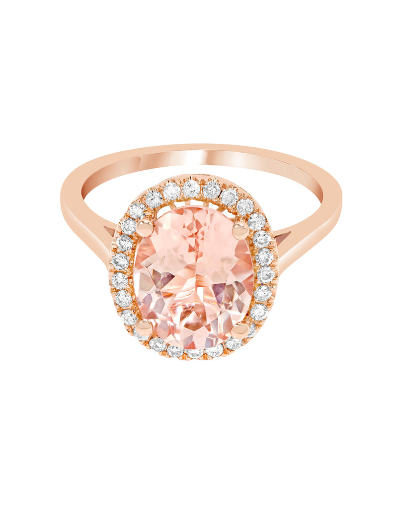 14K Rose Gold with Morganite and Diamond Ring