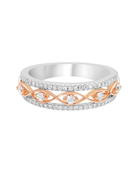 14K White with Rose Gold and Diamond Infinity Wedding Band