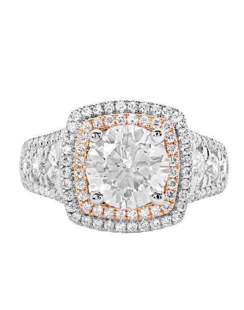 14K White with Rose Gold and Double Halo Diamond Engagement Ring
