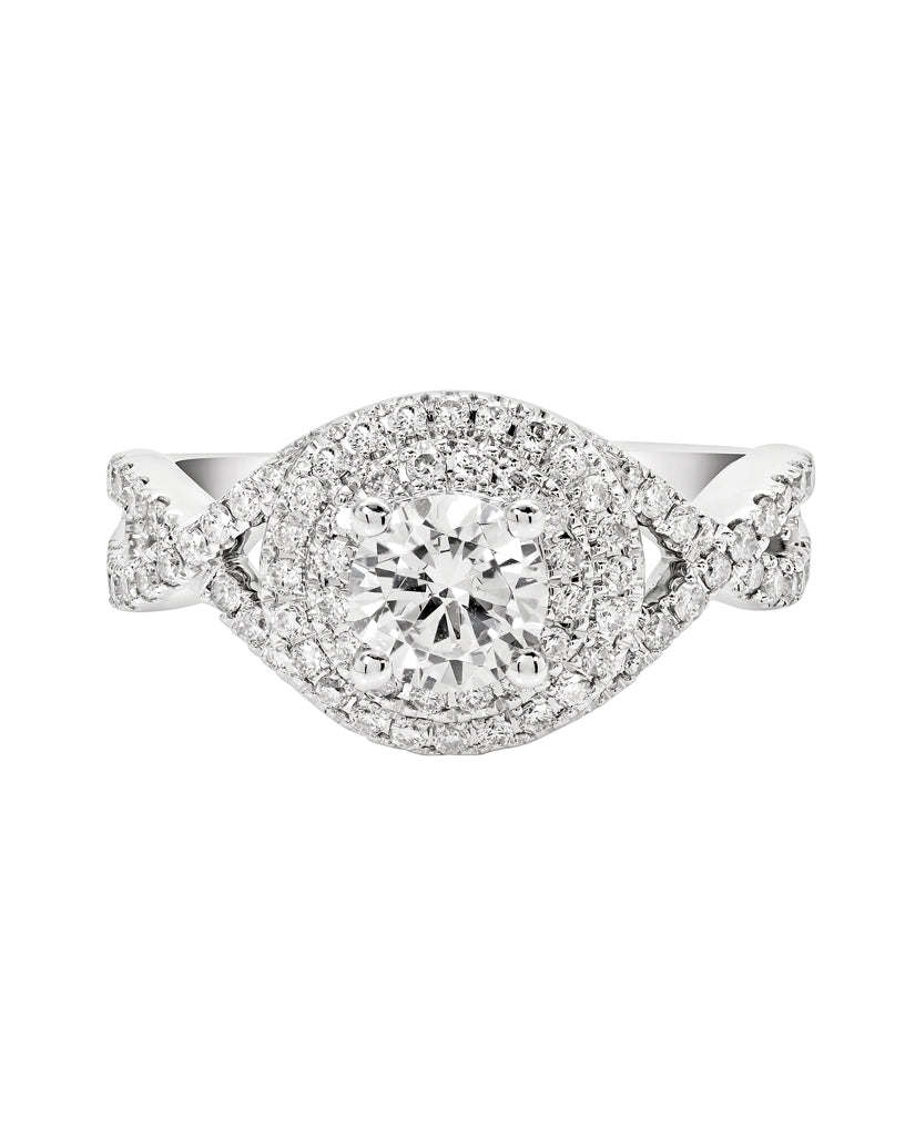 14K White Gold and Double Halo Diamond Tesori Infinity Engagement Ring