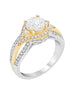 14K White with Yellow Gold and Diamond Split Shank Engagement Ring