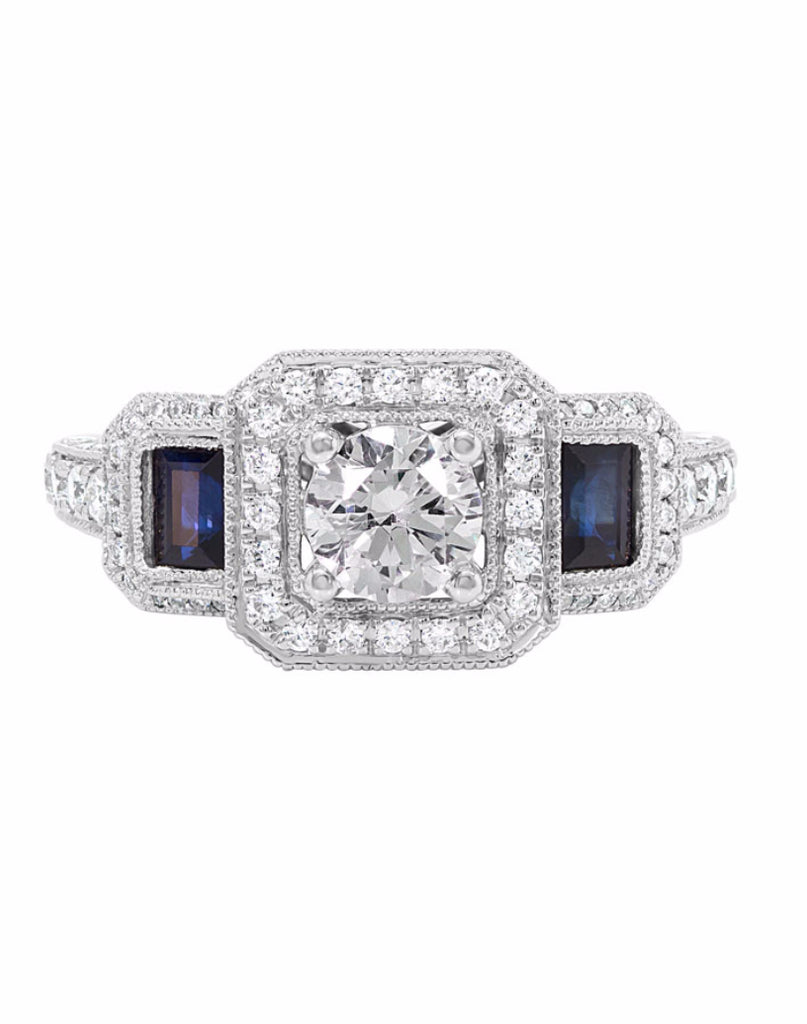 14K White Gold and Halo Diamond with Blue Sapphire Engagement Ring
