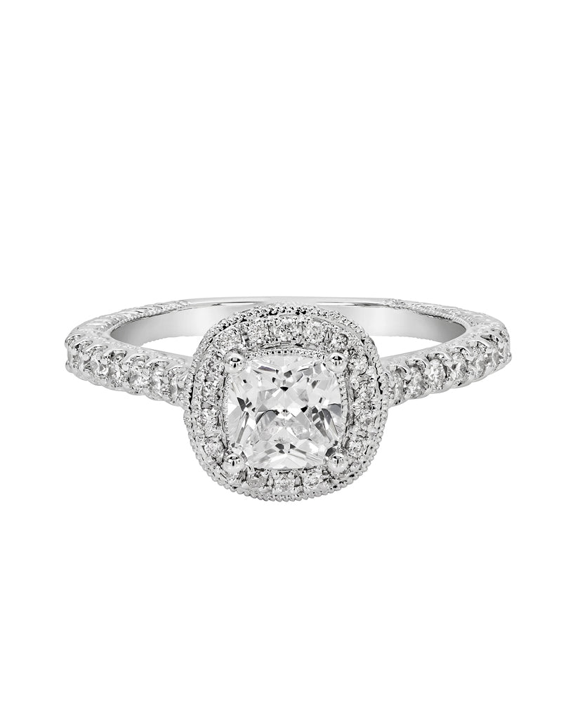 Vintage 14K White Gold and Halo Diamond Tesori Engagement Ring