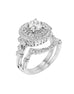 Vintage 14K White Gold and Double Halo Diamond Engagement Ring