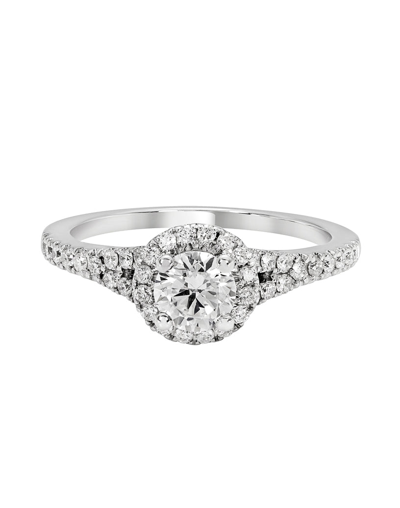 14K White Gold and Halo Diamond Tesori Split Shank Engagement Ring
