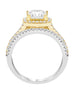 14K White with Yellow Gold and Halo Diamond Split Shank Engagement Ring