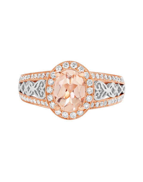 14K Rose with White Gold with Morganite and Diamond Engagement Ring